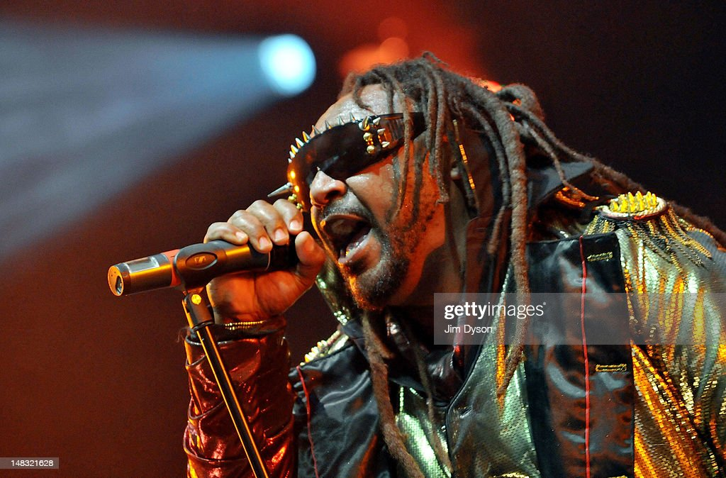 Benji Webbe of Welsh rock group Skindred performs live on stage during the first day of Hard Rock Calling, at Hyde Park on July 13, 2012 in London, England.