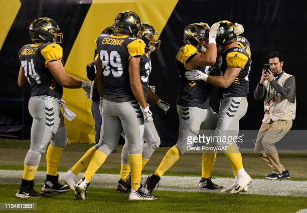 Ben Johnson of the San Diego Fleet celebrates his touchdown with teammates during the second half of the Alliance of American Football game against...