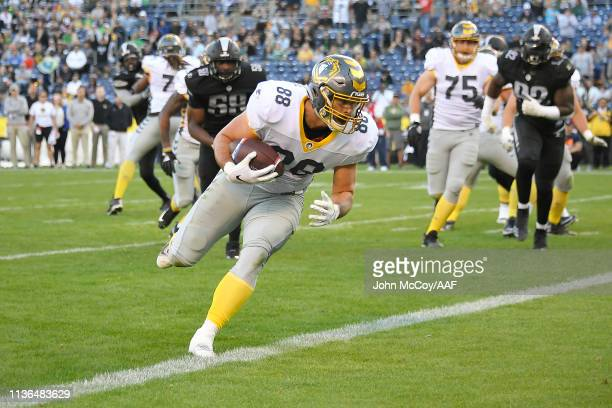 Ben Johnson of the San Diego Fleet scores a touchdown during the second quarter against the Birmingham Iron in an Alliance of American Football game...