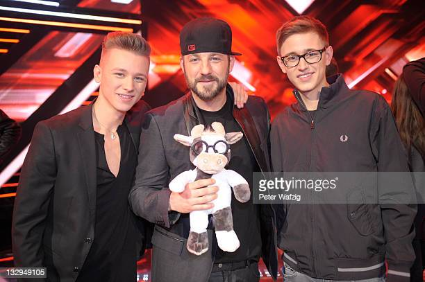 BenMan and Mirko Bogojevic during the photocall at the 'The X Factor Live' TVShow on November 15 2011 in Cologne Germany
