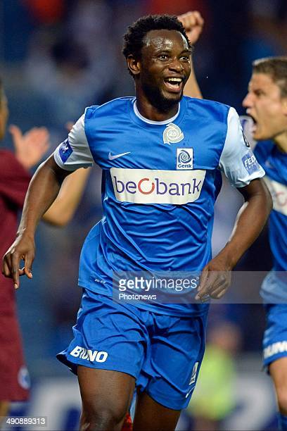 Bennard Kumordzi of KRC Genk celebrates scoring 21 during the Jupiler League play off 1 match between KRC Genk and Club Brugge on May 15 2014 in Genk...
