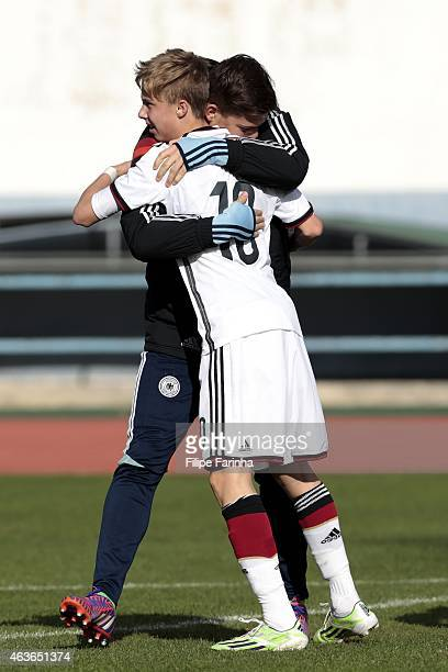 Bennet P Schauer and Sam Francis Schreck of Germany celebrate the victory during the U16 UEFA development tournament between Germany and Netherlands...