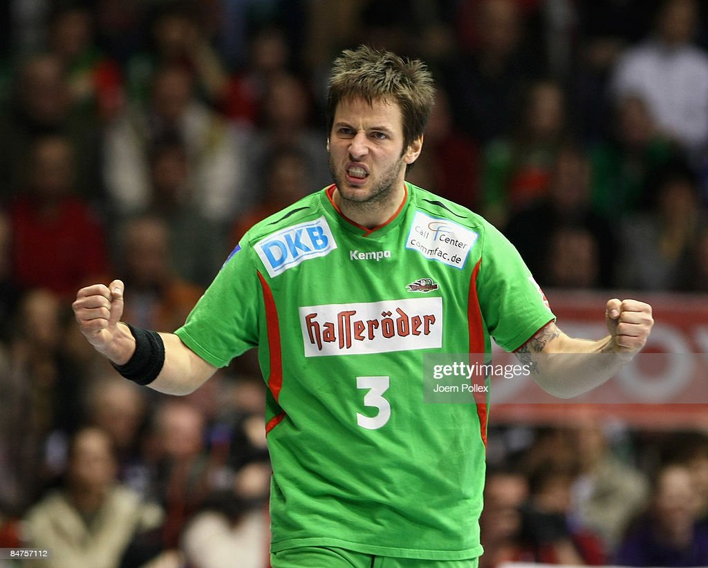 Bennet Wiegert of Magdeburg is seen during the Toyota Handball Bundesliga match between SC Magdeburg and THW Kiel at the Boerdeland hall on February 10, 2009 in Magdeburg, Germany.