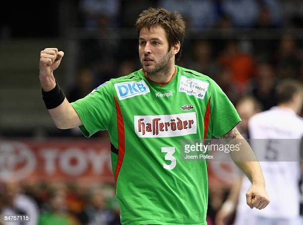 Bennet Wiegert of Magdeburg is seen during the Toyota Handball Bundesliga match between SC Magdeburg and THW Kiel at the Boerdeland hall on February...