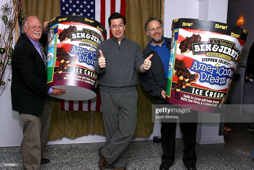 Bennett Cohen Comedian Stephen Colbert And Jerry Greenfield Pose For News Photo Getty Images Americone dream is so good, but i miss late night snack. 2