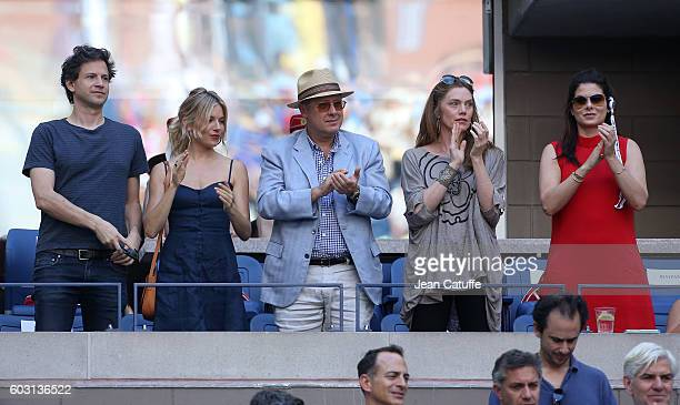 Bennett Miller and Sienna Miller James Spader and Leslie Stefanson Debra Messing attend the men's final between Novack Djokovic of Serbia and Stan...