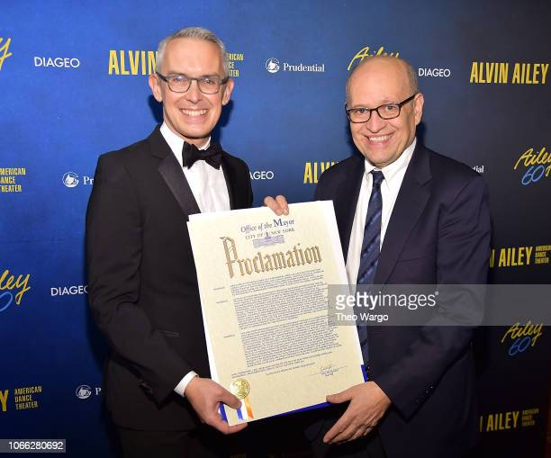 Bennett Rink and Tom Finkelpearl attend the Alvin Ailey American Dance Theater's 60th Anniversary Opening Night Gala Benefit at New York City Center...