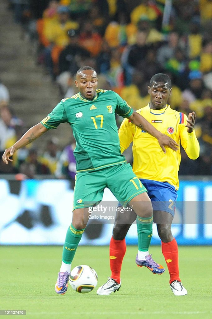 Benni McCarthy and Cristian Zapata the International friendly between South Africa and Columbia at Soccer City Stadium on May 27, 2010 in Johannesburg, South Africa.