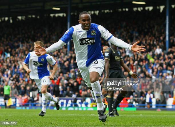 Benni McCarthy of Blackburn Rovers celebrates after scoring the second goal from the penalty spot during the Barclays Premier League match between...