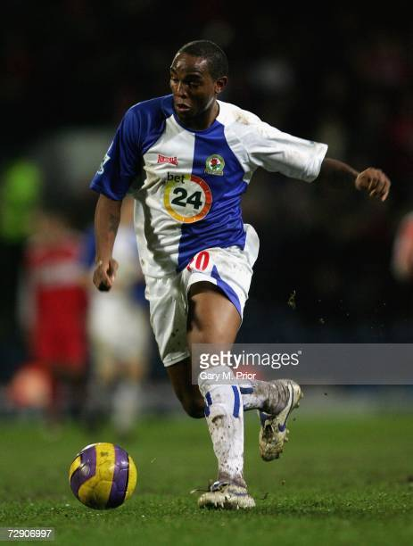 Benni McCarthy of Blackburn Rovers in action during the Barclays Premiership match between Blackburn Rovers and Middlesbrough at Ewood Park on...