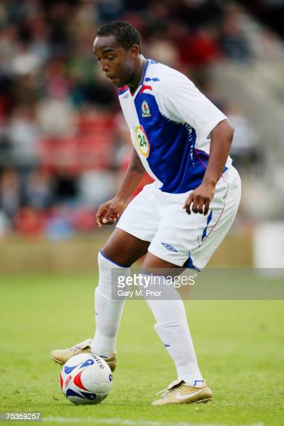 Benni McCarthy of Blackburn Rovers in action during the Friendly match between Wrexham and Blackburn Rovers at The Racecourse Ground on July 10 2007...