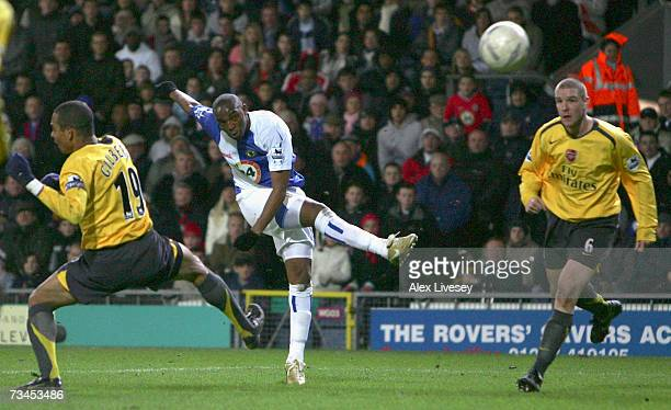 Benni McCarthy of Blackburn Rovers scores the winning goal during the FA Cup sponsored by E.ON 5th Round Replay match between Blackburn Rovers and...