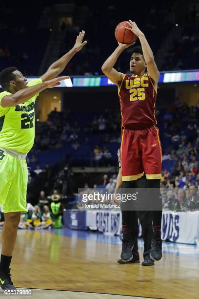Bennie Boatwright of the USC Trojans attempts a shot defended by King McClure of the Baylor Bears during the second round of the 2017 NCAA Men's...