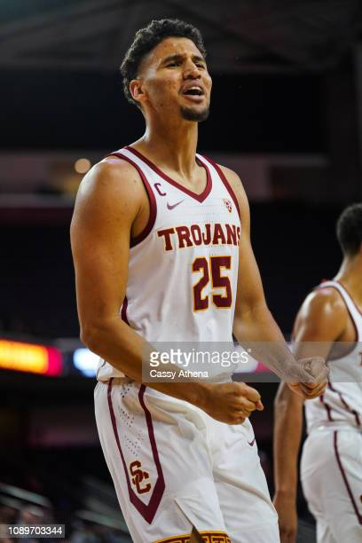 Bennie Boatwright of the USC Trojans celebrates during a game against the Cal Bears at The Galen Center on January 3 2019 in Los Angeles California