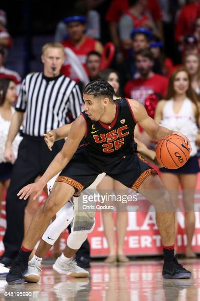 Bennie Boatwright of the USC Trojans dribbles during the second half of the college basketball game against the Arizona Wildcats at McKale Center on...