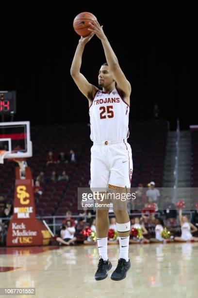Bennie Boatwright of the USC Trojans handles the ball against the Stetson Hatters during a college basketball game at Galen Center on November 14...