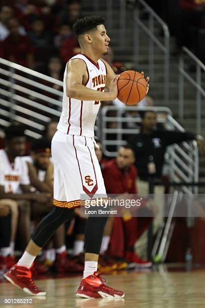 Bennie Boatwright of the USC Trojans handles the ball against the Yale Bulldogs in a NCAA college basketball game at Galen Center on December 13 2015...