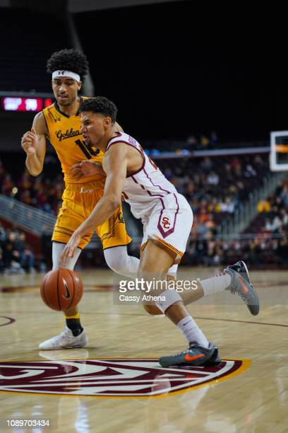 Bennie Boatwright of the USC Trojans handles the ball in a game against Justice Sueing of the Cal Bears at The Glen Center on January 3 2019 in Los...