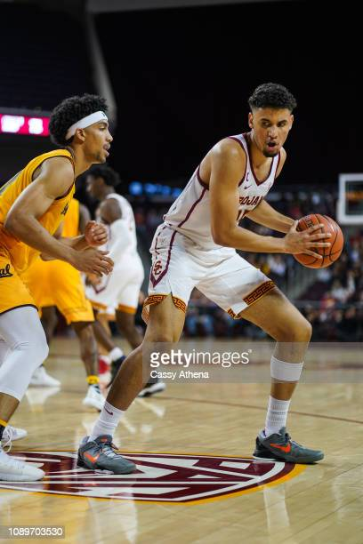 Bennie Boatwright of the USC Trojans handles the ball in a game against Justice Sueing of the Cal Bears at The Galen Center on January 3 2019 in Los...