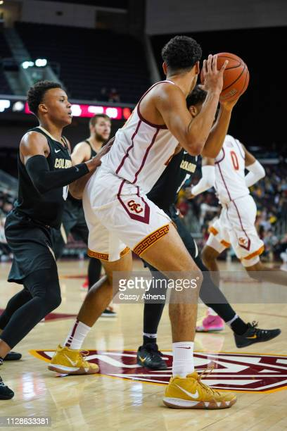 Bennie Boatwright of the USC Trojans handles the ball in a game against the Colorado Buffaloes at Galen Center on February 09 2019 in Los Angeles...