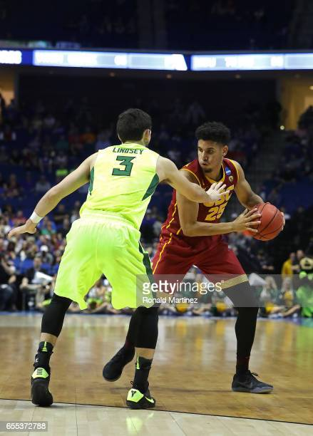Bennie Boatwright of the USC Trojans is defended by Jake Lindsey of the Baylor Bears during the second round of the 2017 NCAA Men's Basketball...