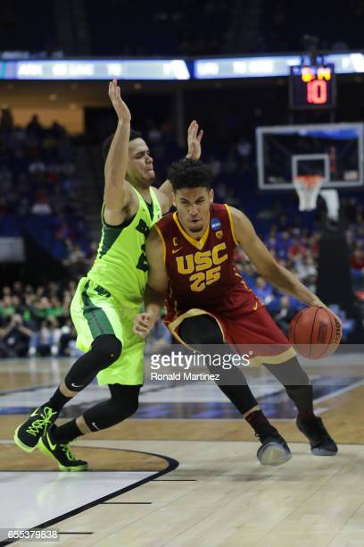 Bennie Boatwright of the USC Trojans is defended by Manu Lecomte of the Baylor Bears during the second round of the 2017 NCAA Men's Basketball...