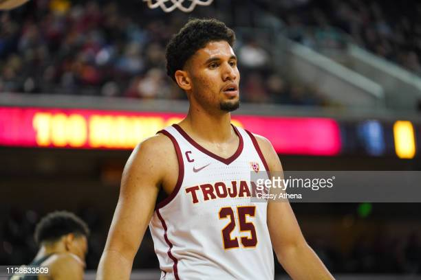 Bennie Boatwright of the USC Trojans looks on in a game against the Colorado Buffaloes at Galen Center on February 09 2019 in Los Angeles California
