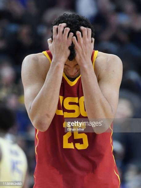 Bennie Boatwright of the USC Trojans reacts after a teammate turned the ball over near the end of a quarterfinal game of the Pac12 basketball...