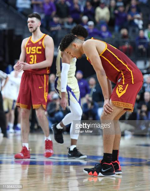 Bennie Boatwright of the USC Trojans reacts after Nick Rakocevic turned the ball over near the end of a quarterfinal game of the Pac12 basketball...