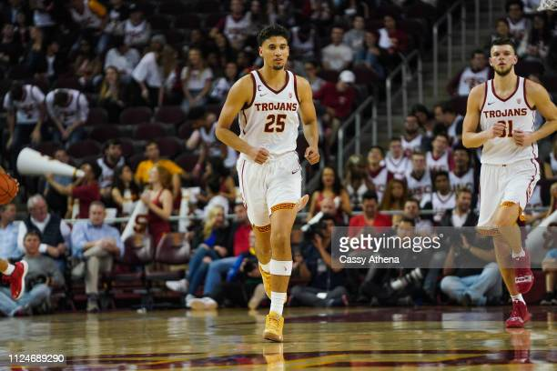 Bennie Boatwright of the USC Trojans runs up the court against the Arizona Wildcats during a game at Galen Center on January 24 2019 in Los Angeles...