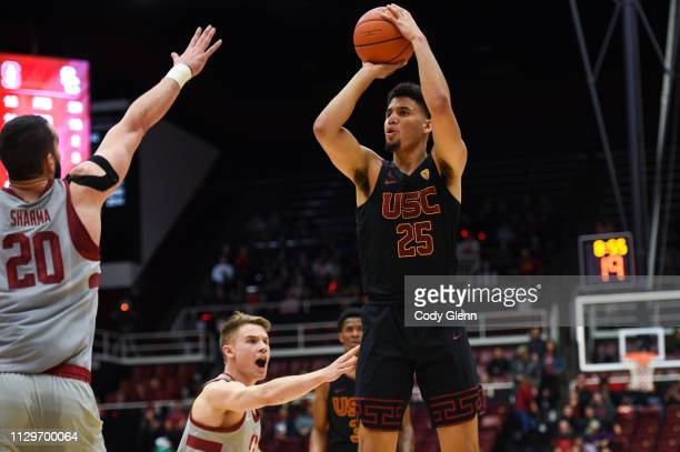 Bennie Boatwright of the USC Trojans shoots a jump shot during their game against The Stanford Cardinal at Maples Pavilion on February 13 2019 in...