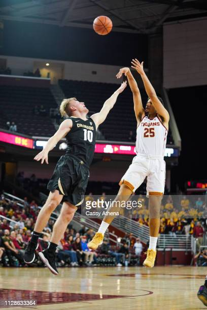 Bennie Boatwright of the USC Trojans shoots a shot in a game against the Colorado Buffaloes at Galen Center on February 09 2019 in Los Angeles...