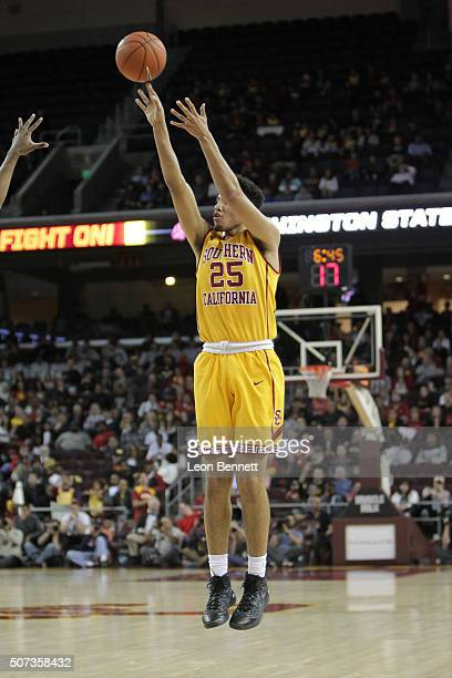 Bennie Boatwright of the USC Trojans shoots for threel against the Washington State Cougars during a NCAA Pac12 college basketball game at the Galen...