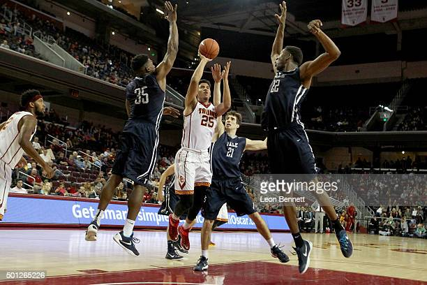 Bennie Boatwright of the USC Trojans shoots for two against the Yale Bulldogs in a NCAA college basketball game at Galen Center on December 13 2015...