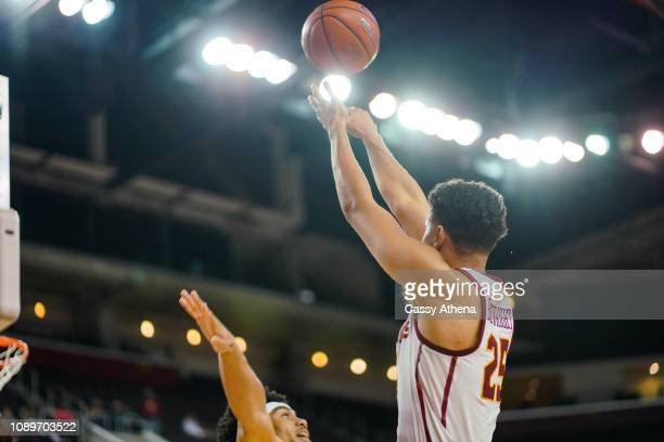 Bennie Boatwright of the USC Trojans shoots the ball during a game against the Cal Bears at The Galen Center on January 3 2019 in Los Angeles...