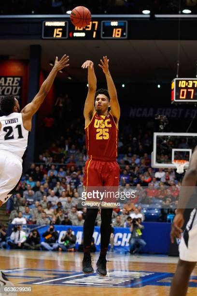 Bennie Boatwright of the USC Trojans shoots the ball in the first half against the Providence Friars during the First Four game in the 2017 NCAA...