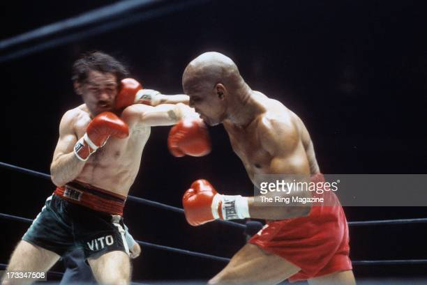 Bennie Briscoe lands a right hook against Vito Antuofermo during the fight at Madison Square Garden in New York New York Vito Antuofermo won by a UD...