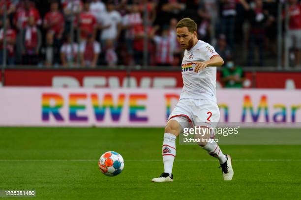 Benno Schmitz of 1. FC Koeln controls the ball during the Bundesliga match between 1. FC Koeln and RB Leipzig at RheinEnergieStadion on September 18,...