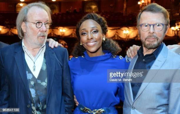 Benny Andersson Alexandra Burke and Bjorn Ulvaeus pose onstage during the press night performance of 'Chess' at The London Coliseum on May 1 2018 in...