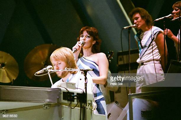 Benny Andersson and AnniFrid Lyngstad of ABBA perform on stage at Wembley Arena on November 8th 1979 in London United Kingdom
