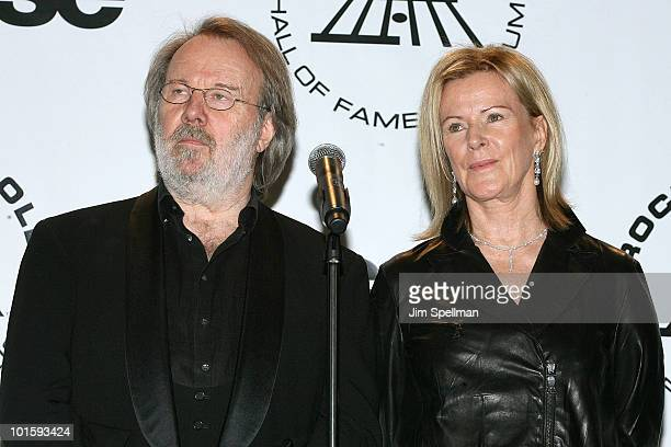 Benny Andersson and AnniFrid Prinsessan Reuss of ABBA attend the 25th Annual Rock and Roll Hall of Fame Induction Ceremony at Waldorf=Astoria on...