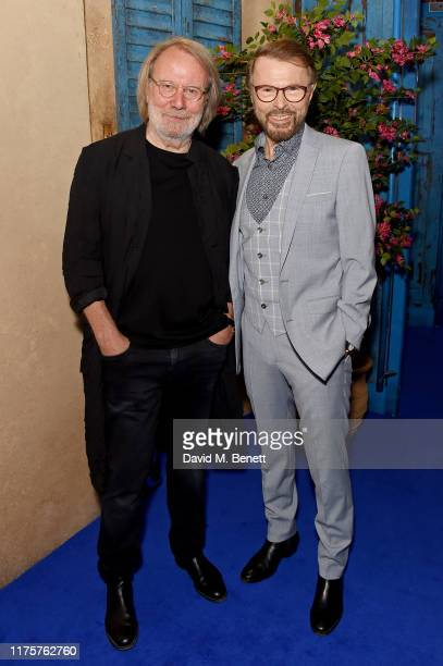 Benny Andersson and Bjorn Ulvaeus attend the opening night of MAMMA MIA! The Party at Building 6 at The O2 on September 19, 2019 in London, England.