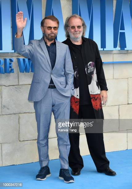 Benny Andersson and Bjorn Ulvaeus attend the World Premiere of Mamma Mia Here We Go Again at Eventim Apollo on July 16 2018 in London England