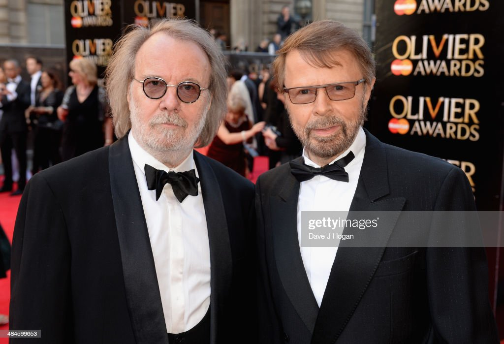 Benny Andersson and Bjorn Ulvaeus attends the Laurence Olivier Awards at the Royal Opera House on April 13, 2014 in London, England.