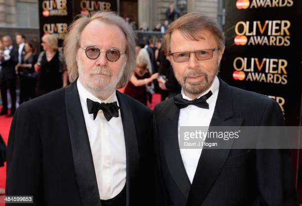 Benny Andersson and Bjorn Ulvaeus attends the Laurence Olivier Awards at the Royal Opera House on April 13 2014 in London England
