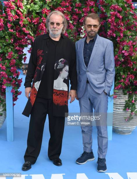 "Benny Andersson and Bjorn Ulvaeus from Abba attend the ""Mamma Mia! Here We Go Again"" world premiere at the Eventim Apollo, Hammersmith on July 16,..."