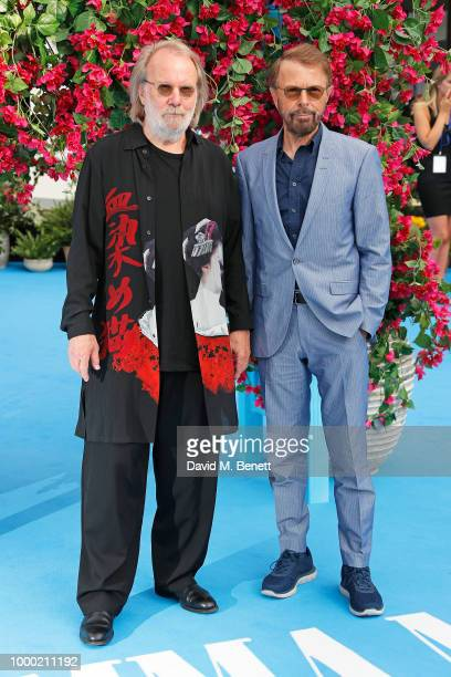 Benny Andersson and Bjorn Ulvaeus from Abba attend the UK Premiere of Mamma Mia Here We Go Again at the Eventim Apollo on July 16 2018 in London...