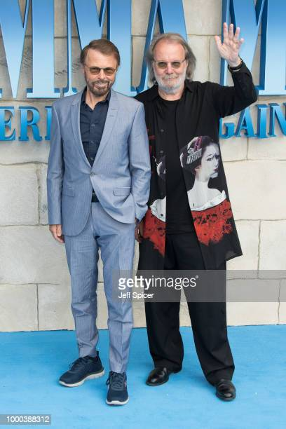 Benny Andersson and Bjorn Ulvaeus from ABBA attend the UK Premiere of Mamma Mia Here We Go Again at Eventim Apollo on July 16 2018 in London England