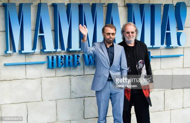 Benny Andersson and Bjorn Ulvaeus of Abba attend the UK Premiere of Mamma Mia Here We Go Again at Eventim Apollo on July 16 2018 in London England
