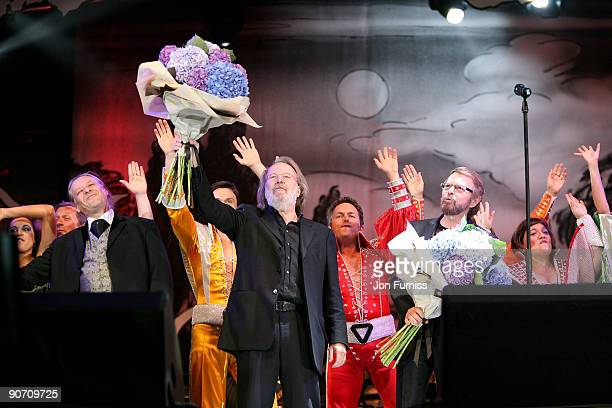 Benny Andersson and Bjorn Ulvaeus take the stage for the curtain call at 'Thank You For The Music' at Hyde Park on September 13 2009 in London England